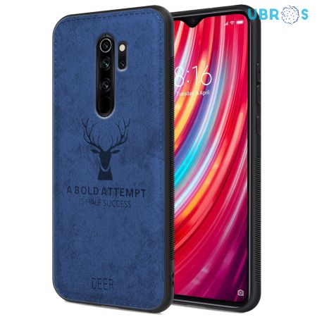 Redmi Note 8 Pro Back Case Cover Soft Fabric Deer Series - Blue