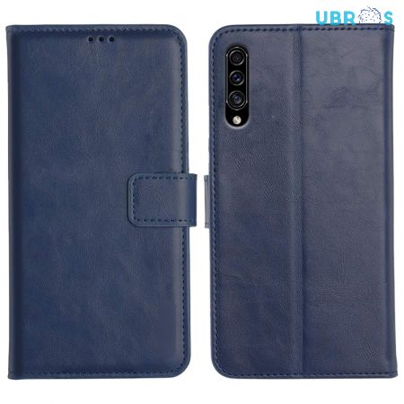Samsung Galaxy A30S Magnetic Flip Cover Leather Finish Mobile Case - Blue